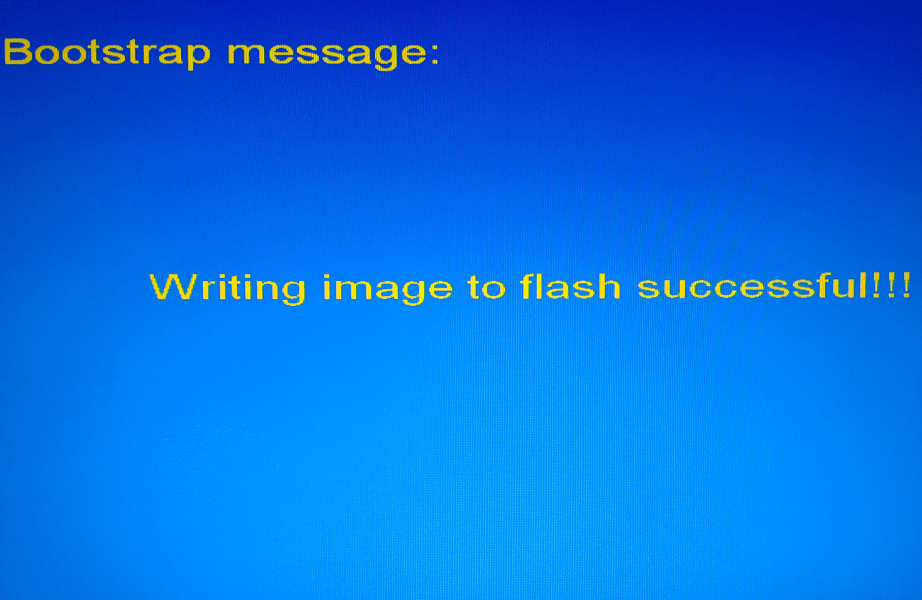 MAG 250 Writing image to flash successfull!
