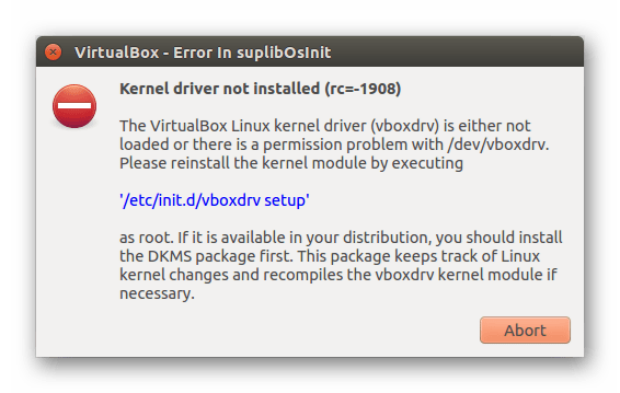 Ошибка VirtualBox - Kernel driver not installed