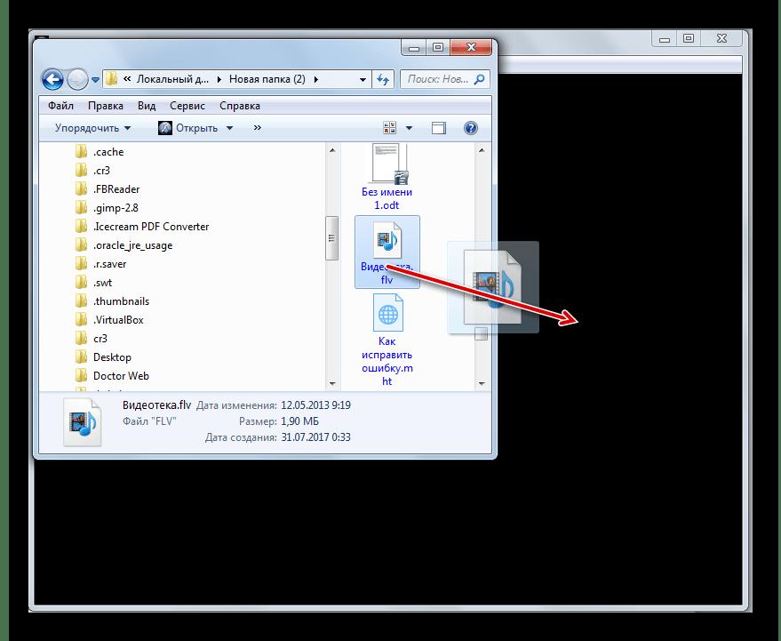 Перетягивание файла из Проводника Windows в окно программы FLV-Media-Player