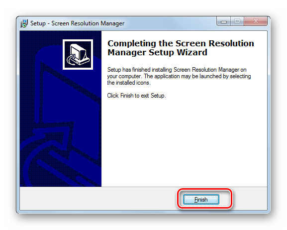 Установка приложения успешно выполнена в установщике программы Screen Resolution Manager в Windows 7