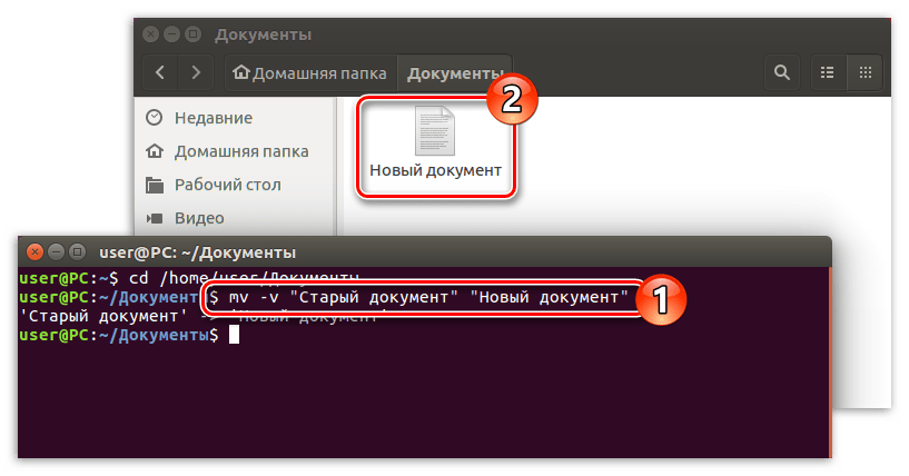 переименовывание файла с помощью команды mv (1 способ)