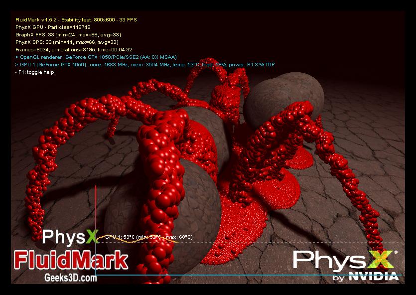 Экран стрессового тестирования системы при просчете физики в программе PhysX FluidMark