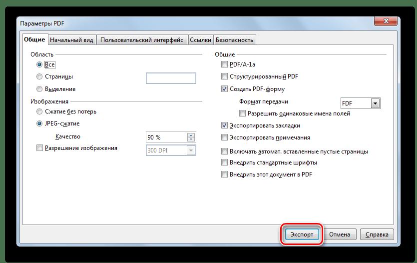Окно Параметры PDF в программе OpenOffice Writer