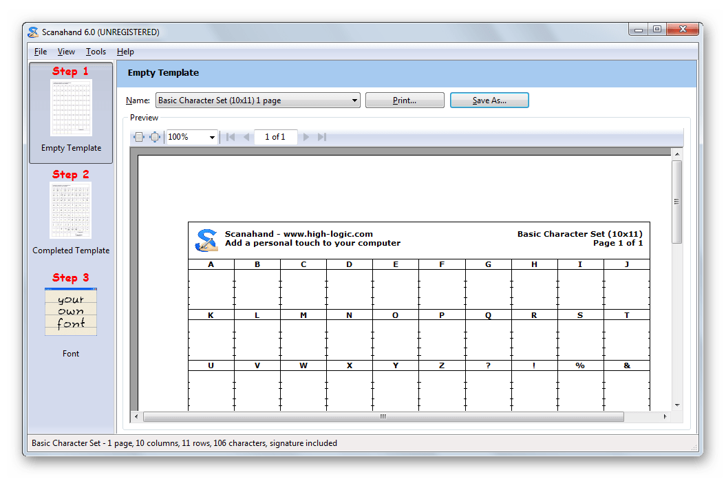 Программа для создания шрифтов Scanahand