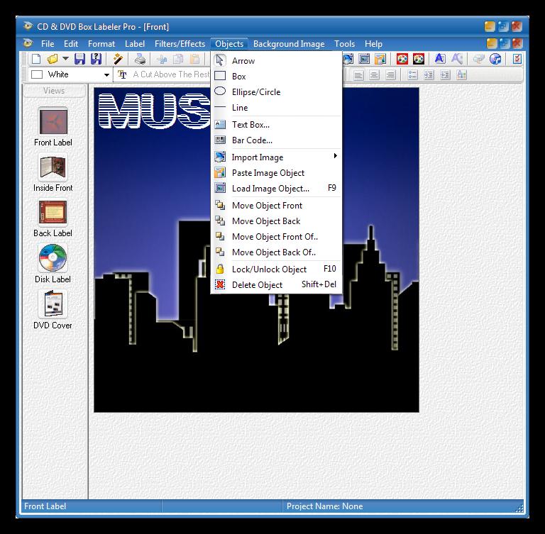 Инструменты добавления элементов в программе CD Box Labeler Pro