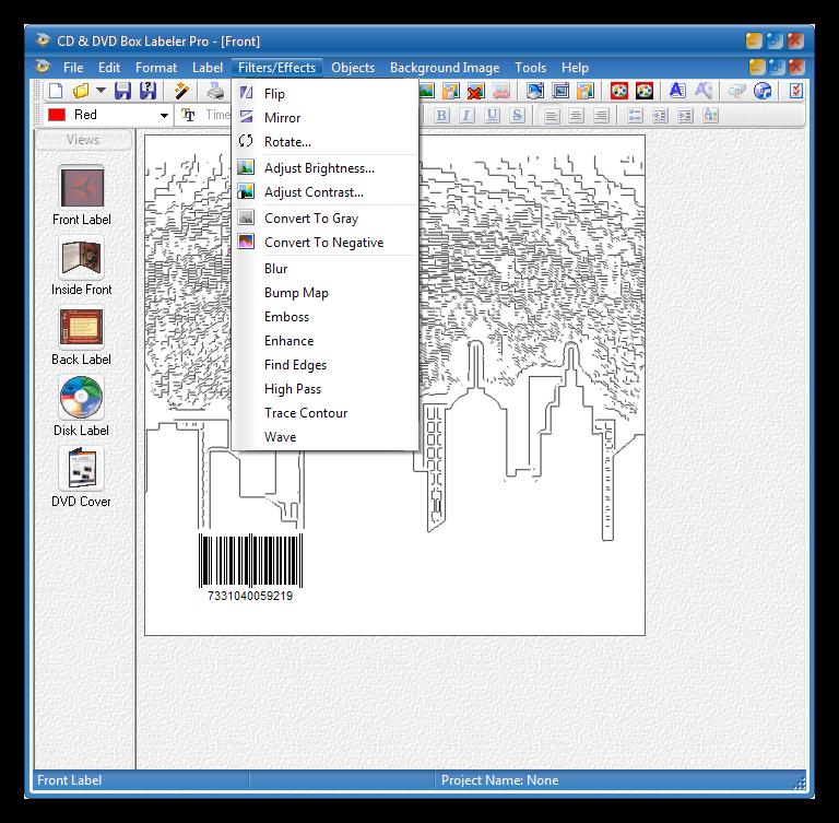 Использование фильтров и эффектов в программе CD Box Labeler Pro