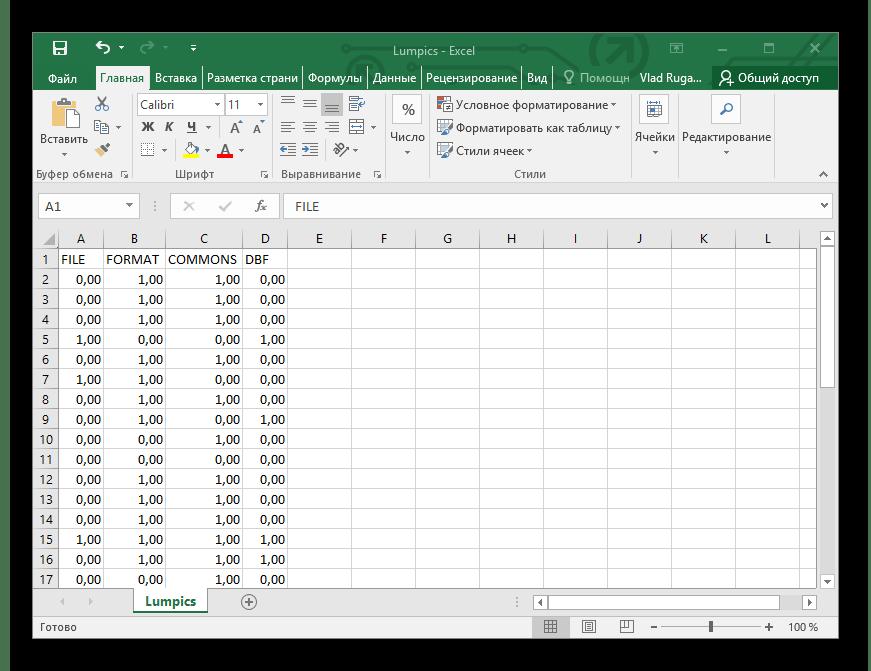 Результат проделанных действий Microsoft Excel