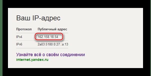 Показ внешнего ip адреса в поисковой выдаче Яндекса