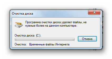 Процедура удаления файлов утилитой Очистка диска в Windows 7