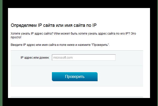 Ввод доменного имени искомого компьютера в форму на 2ip