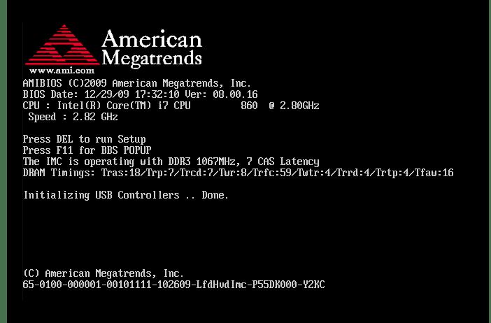 AMI boot menu