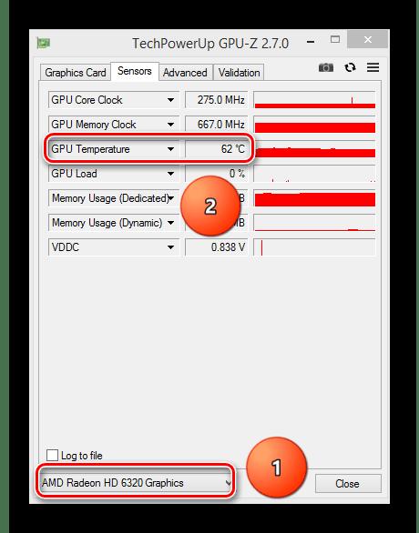 Выбор видеокарты и ее температура в программе GPU-Z