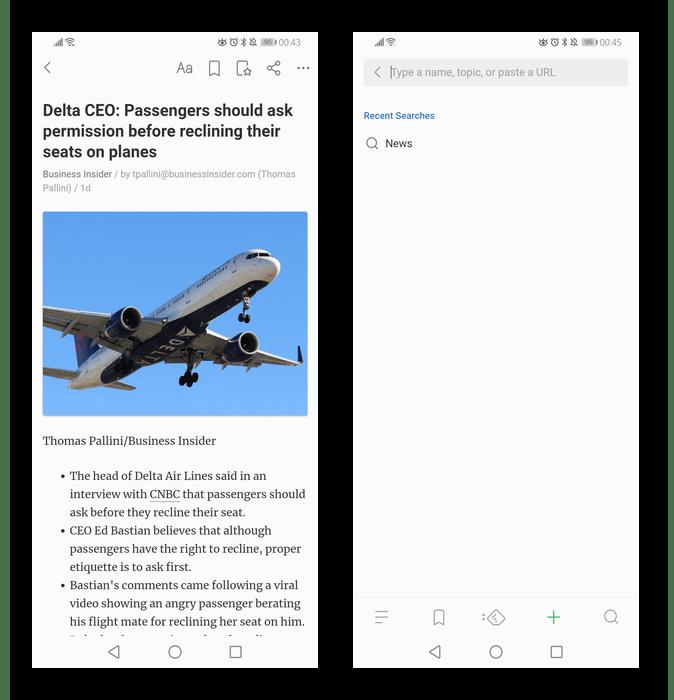 Чтение новостей и поиск источников в мобильном приложении Feedly