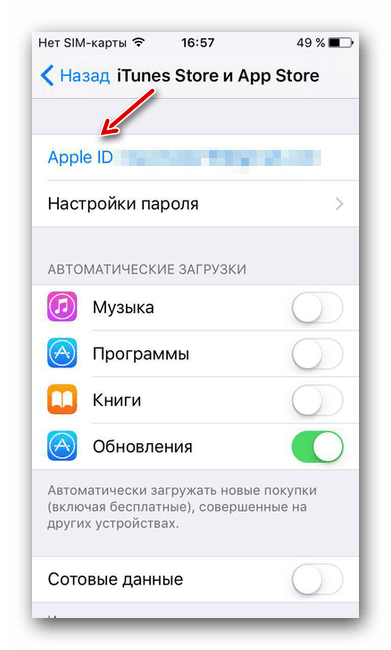 Apple ID в настройках