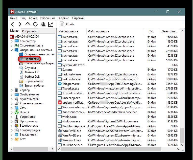 Подраздел Процессы в разделе Операционная система в AIDA64