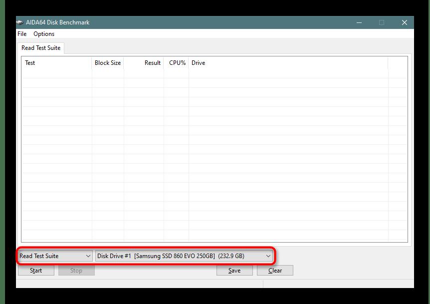 Запуск теста диска в AIDA64