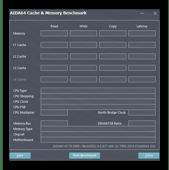 Запуск теста кэша и памяти в AIDA64