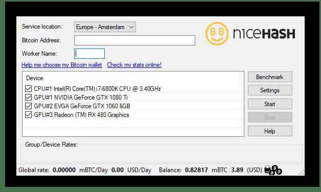 Интерфейс программы NiceHash