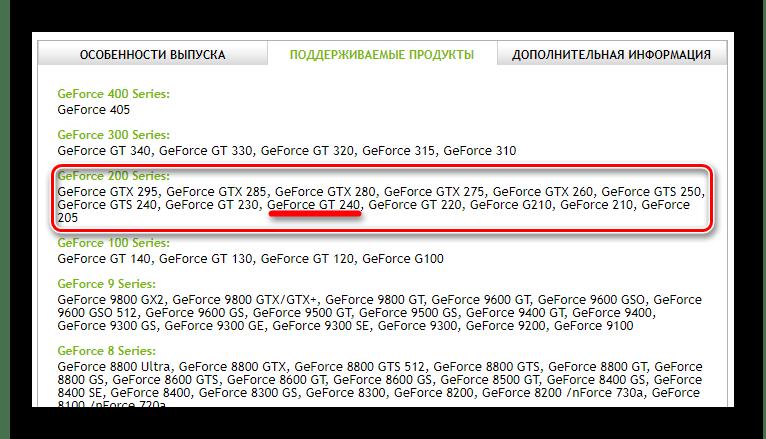 Список поддерживаемых продуктов GeForce GT 240