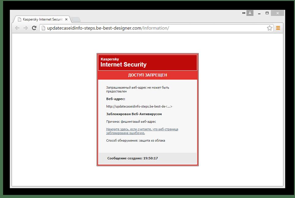 Вид заблокированного сайта в Kaspersky Internet Security