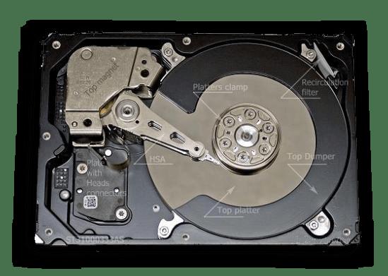 Внутренности герметического блока В HDD