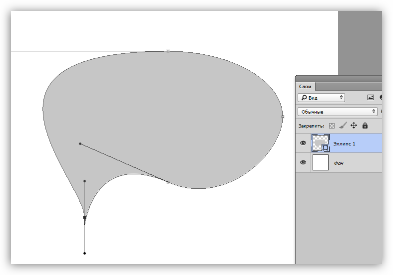 Деформация эллипса с помощью направляющих в Фотошопе