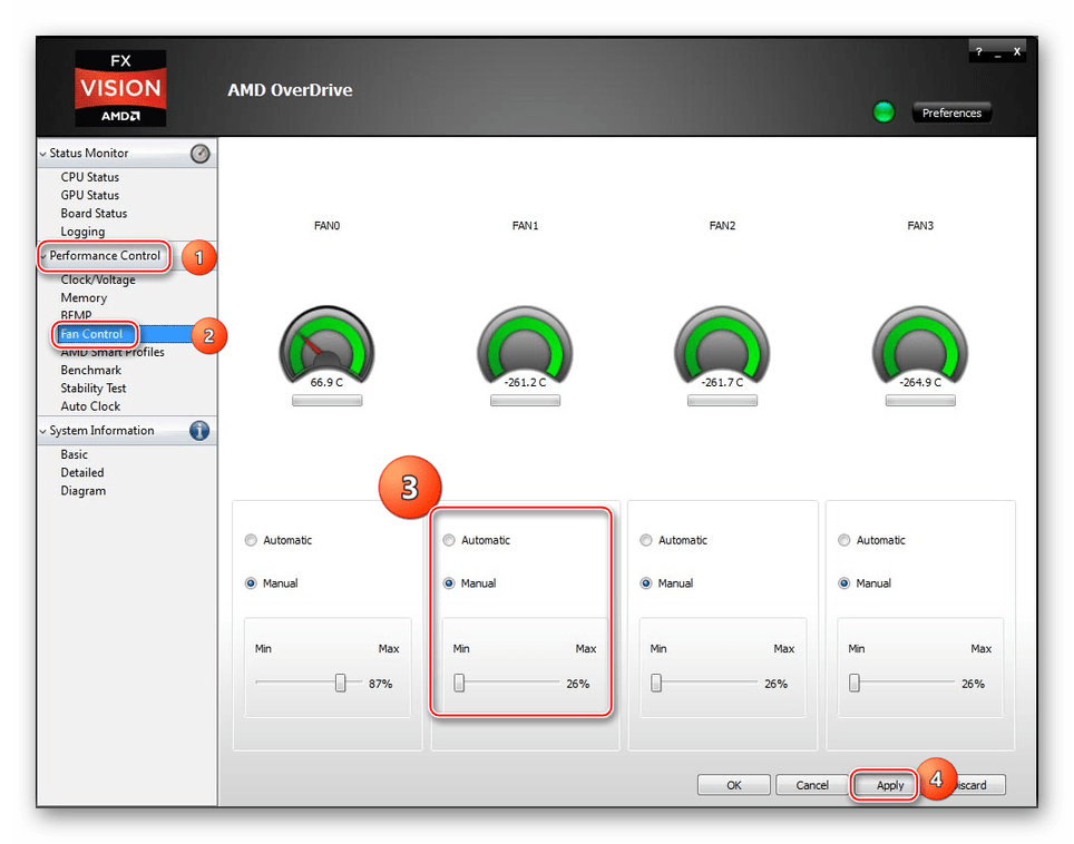 Процесс изменения скорости кулема в AMD OverDrive