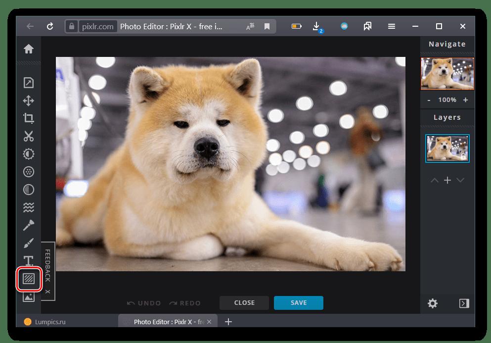 Переход в раздел наложения элементов на сайте Pixlr
