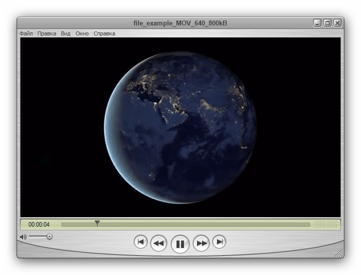 Файл MOV, запущенный в Apple QuickTime Player