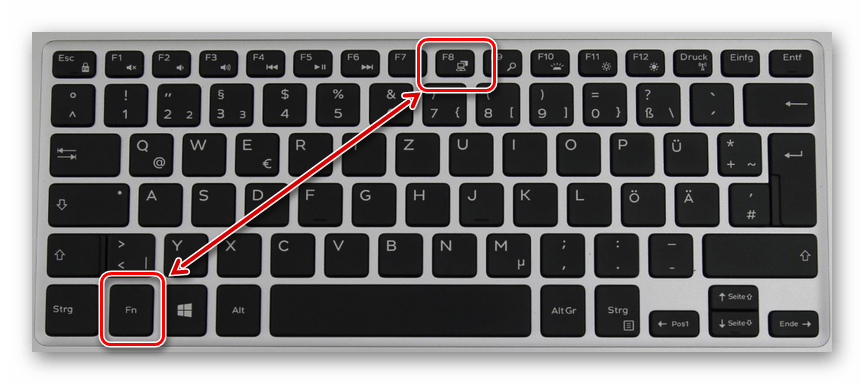 Кнопка переключения монитора на ноутбуке