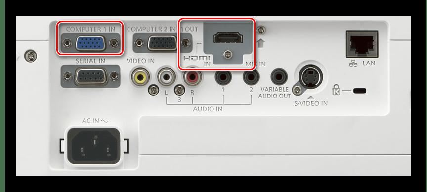 Процесс подключения видеокабеля к проектору