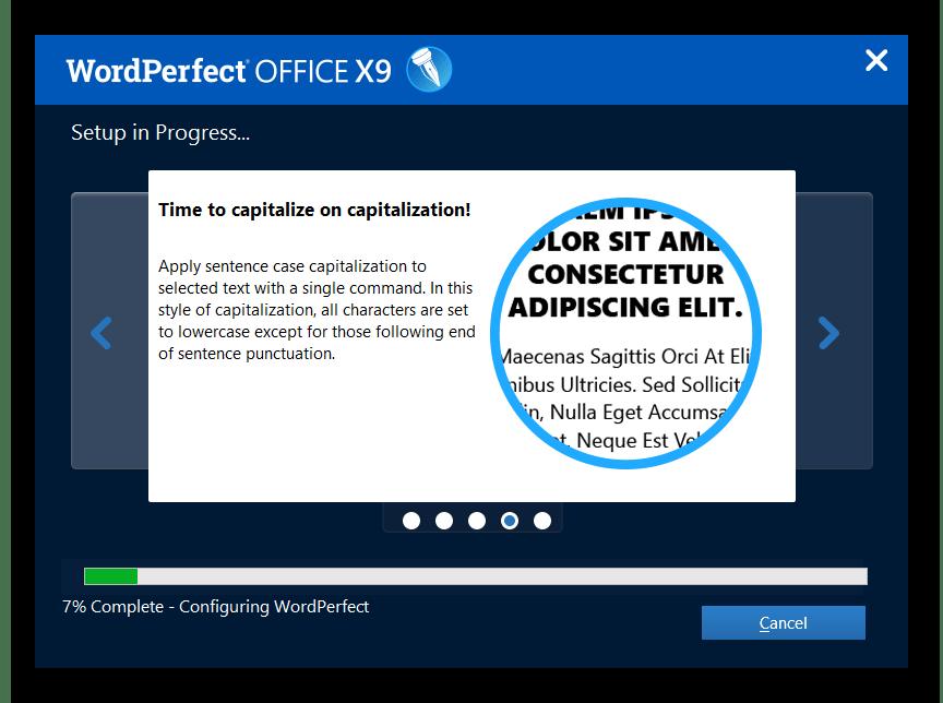 Процесс установки пакета WordPerfect Office