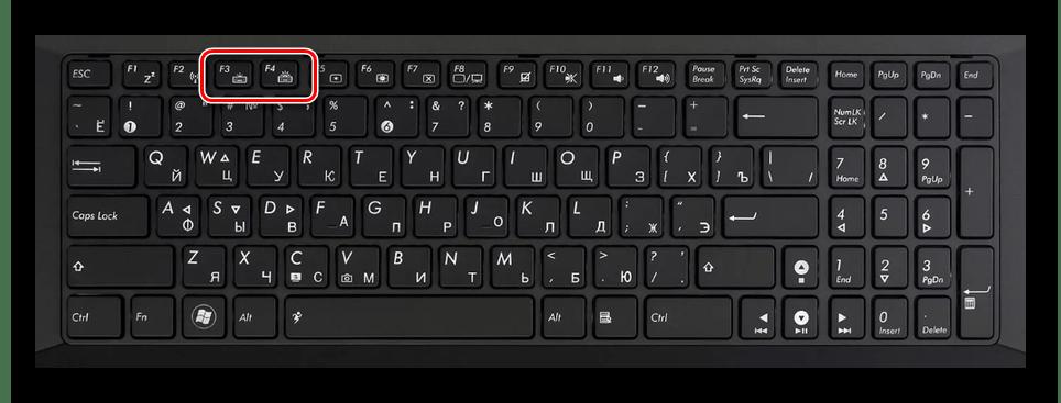 Пример клавиатуры с подсветкой на ноутбуке ASUS