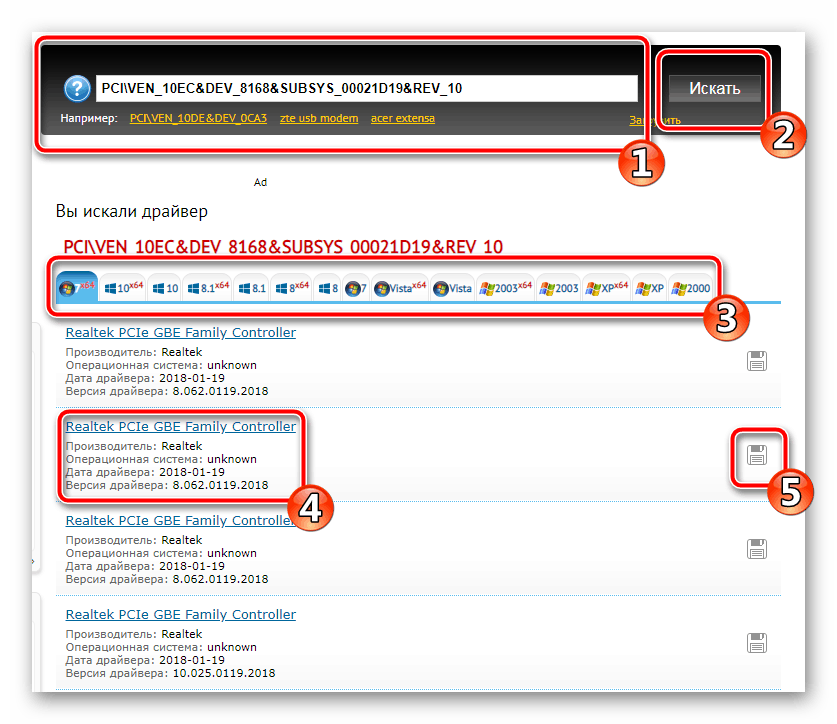 Уникальный код сетевой карты Realtek PCe GBE Family Controller
