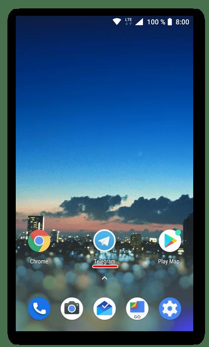 Приложение Telegram успешно установлено на смартфон с Android через Google Play Маркет на компьютере