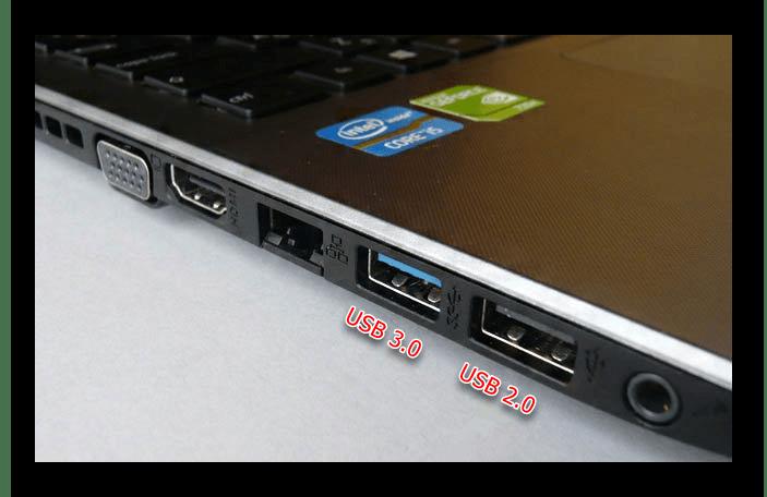 Разъемы USB 3.0 и 2.0 на ноутбуке