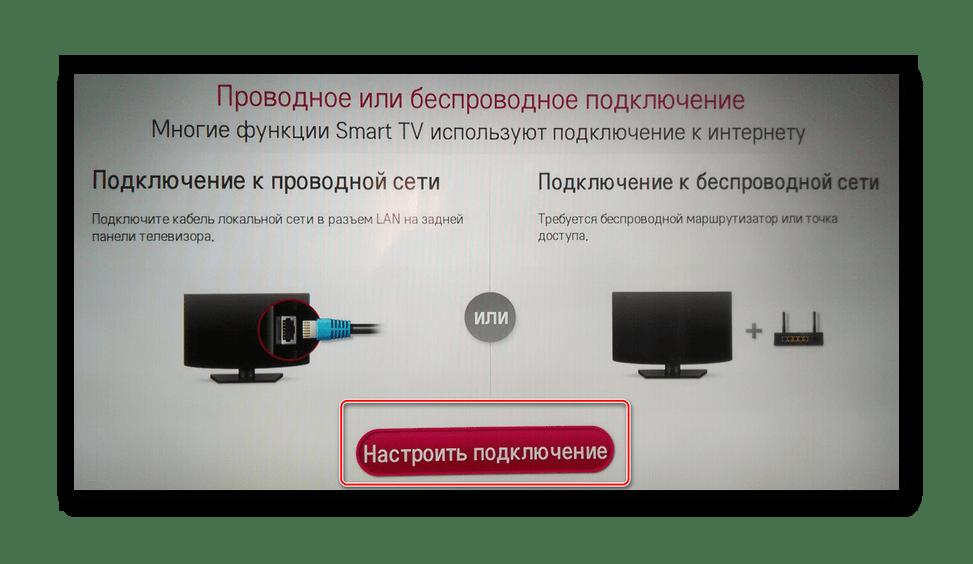 Настроить сетевое подключение на смарт телевизоре LG