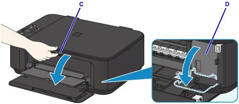 Открыть лоток приема бумаги принтера марки Canon