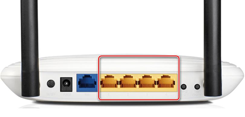 Порты LAN на панели роутера