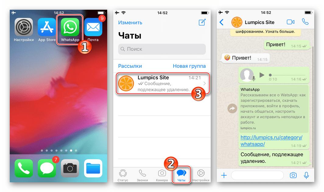 WhatsApp для iPhone удаление сообщений у собеседника - открытие чата
