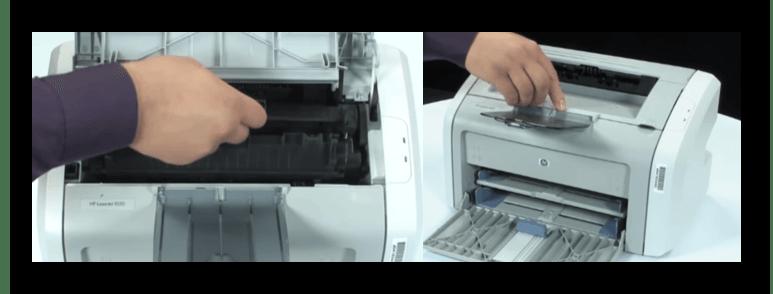 Закрытие верхней крышки принтера