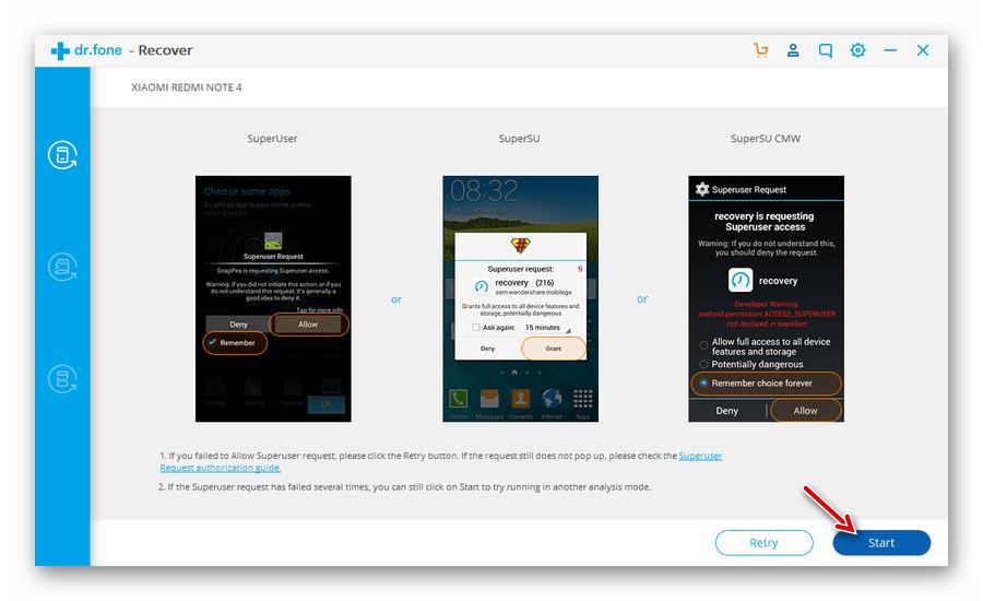 Запуск процесса поиска утеряных данных в программе Wondershare Dr.Fone Android Toolkit