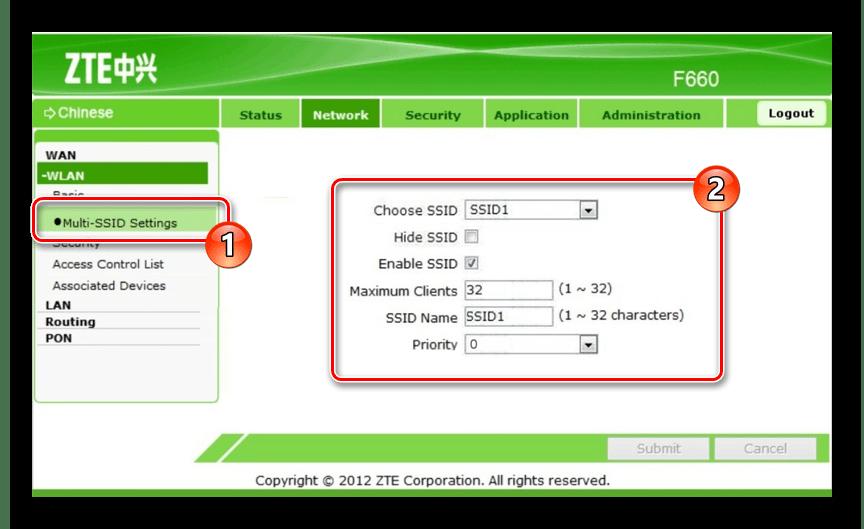 Изменение настроек Multi-SSID на ZTE ZXHN F660