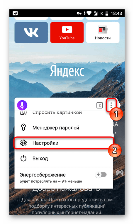 Переход в настройки приложения Яндекс.Браузер