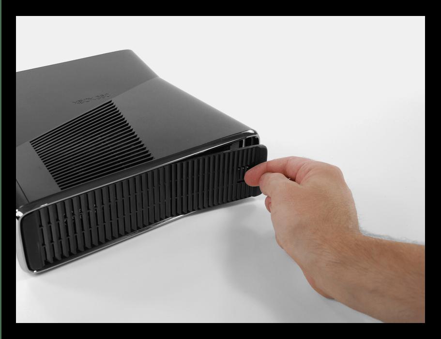 Снятие крышки нижнего торца Xbox 360 Slim