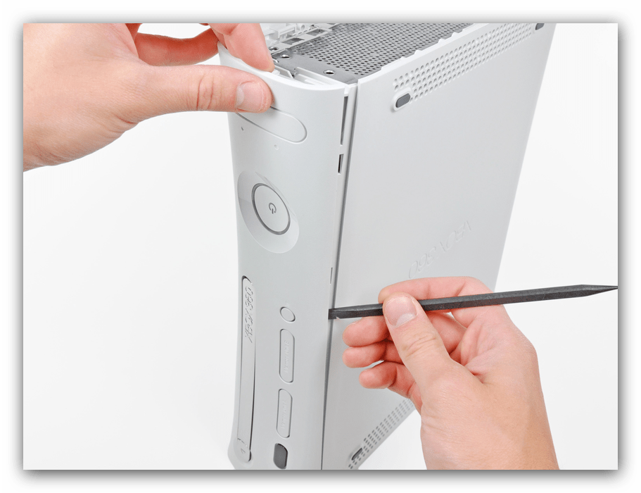 Снятие передней панели Xbox 360 Fat