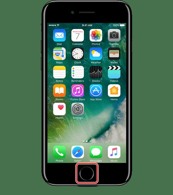 Нажатие кнопки Домой на iPhone