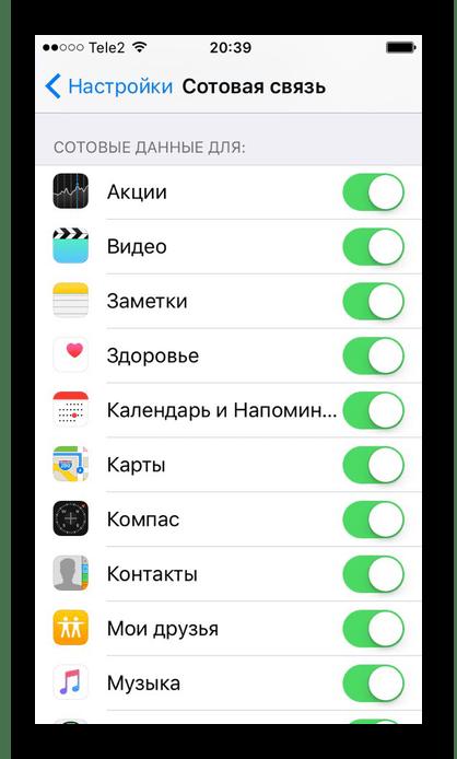 Отключение передачи сотовых данных для определённых приложений на iPhone