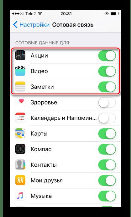 Возможность включения мобильного доступа в интернет только определенным приложениям на iPhone