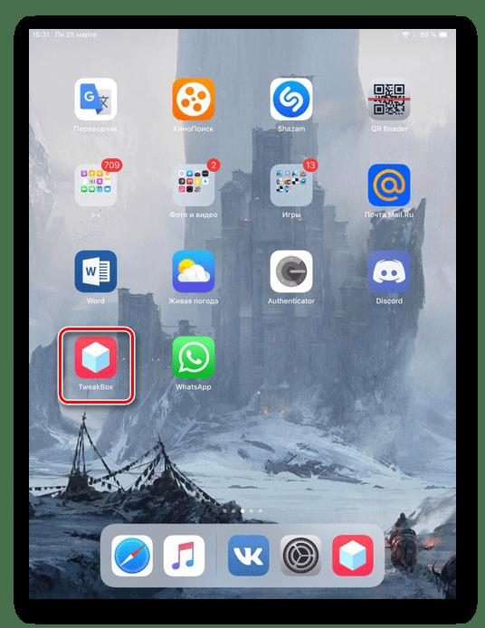 Иконка приложения TweakBox на рабочем столе iPad